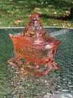 Westmoreland Glass Peach Pink Santa on Sleigh Covered Christmas Candy Dish