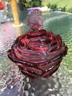 Fenton 2 Piece Pink Purple Covered Rose Bowl Candy Nut Dish w Butterfly Lid