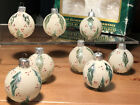 8 holly leaves frosted vintage commodore hand decorated glass ornaments romania