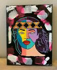 Pocahontas Native American Indian Hand Painted Painting Artwork Canvas 9X12