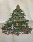 Amazing NATIVITY SCENE CHRISTMAS TREE Lg Hand Painted NEEDLEPOINT Canvas 18 Ct