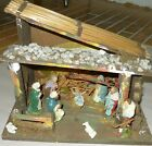 Vintage Nativity Creche Lighted straw and rock hand painted Manger 135 x 9 x 10