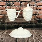 Fenton Hobnail Milk Glass White Scalloped Butter Dish Creamer Sugar Bowl