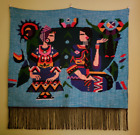 Wall Tapestry Native Indian Fringed Woven Handmade Couple Love 34x34 Turquoise