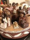 Vintage Peru Nativity Scene Advent Candle Holder Red Clay Pottery