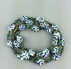Vtg Rare Venetian Flower Millefiori  Chevron Matt Glass Beads Necklace Murano