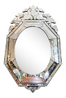 LARGE Superb ANTIQUE Made In France Beveled  Etched Glass VENETIAN MIRROR