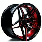 20 STAGGERED AC WHEELS AC01 GLOSS BLACK RED INNER EXTREME CONCAVE RIMS B84