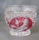 HOFBAUER Bohemian Ruby Cup cut to clear Red Bird Cut Glass excellent condition