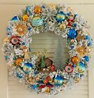 VTG CHRISTMAS ORNAMENT WREATH NATIVITY PIXIE DEER MERCURY GLASS SHINY BRITES 21