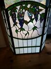 Antique Tiffany Style Vineyard Vine Stain glass Fireplace Screen Vintage Grapes