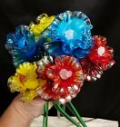 Stunning Bouquet Of 6 Red Yellow And Blue Daffodil Blown Glass Flowers 13