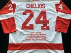 Chris Chelios Signed Autograph White Stat Jersey JSA COA Detroit Red Wings Great