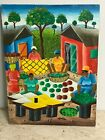 Vintage Street Artist Orig Canvas Oil Painting of African American Working Women