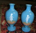 Antique Mary Gregory Blue Opaline Pair of Vases