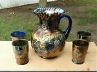 FENTON Carnival Glass Water Pitcher  4 Tumblers Floral  Grape Pattern Blue