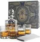 Regal Trunk Whiskey Decanter Set in a Gift Box Lead Free Crystal Glass Whiskey