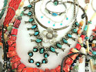 Vtg GENUINE CORAL  STERLING SILVER Jewelry Lot NATIVE AMERICAN  TAXCO MEXICO
