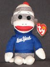 TY NEW YORK SOCK MONKEY BEANIE BABY - MINT with MINT TAGS