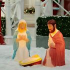 Large Colorful 285 Lighted Nativity 3 Pc Set Yard Blow Mold Christmas Scene