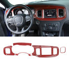 Inner Console Dashboard Panel Cover Trim for Dodge Charger 15+ Red Carbon Fiber