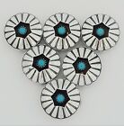 Vintage Native American Southwestern Sterling Silver Turquoise Button Covers