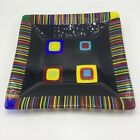 Art Glass Tray Signed Fused 11 Square Colorful Unique