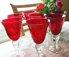 Sonoma Ruby Red Bubble Glass Water Goblets Clear Stem Hand Blown Set of 7