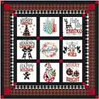 Quilt Kit Its a Buffalo Check Christmas with 9 Finished Embroidery Blocks