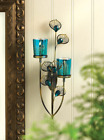 Wall Sconce Candle Holder Iron Metal Glass Votive Blue Turquoise Peacock Art