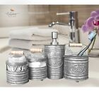 Autumn Alley Glass  Galvanized Farmhouse Bathroom Accessories Set 4 pieces