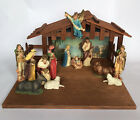 Vintage Merrilite Nativity Set With Wooden Stable Hong Kong Christmas Decoration