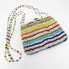 Vintage Chista New York Small Rainbow Multi Color Glass Beaded Purse