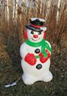Grand Venture 1999 Holiday Christmas Lighted Snowman Blow Mold  Measures 30 T
