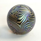 Vintage R EICKHOLT Art Glass Iridescent Swirl Feather Paperweight SIGNED 1983