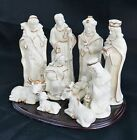 new Large 10 pc Porcelain NATIVITY set on Wood Base in ORIG BOX EXCELLENT COND