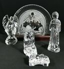 Waterford 5 Pc Nativity Set Jesus Mary Joseph Angel Bethlehem Backdrop on Base