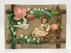 Antique Victorian Christmas Card Die Cut 3D Standing French Vive Jesus Nativity
