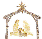 Outdoor Christmas Decorations Nativity Scene Pre Lit Lighted Display Yard Xmas