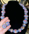 Vtg Italy Murano Millefiori Blue Venetian Glass Wedding Cake Necklace Earrings