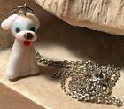 art glass dog pooch puppy charm pendant sterling silver ss box chain 9 3 4spain