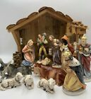 Stunning Hand Painted Porcelain Nativity Figures Germany 14 Pc Set Creche RARE