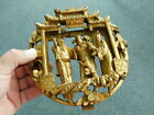 Vintage Asian Antique China Chinese Carved Gilt Cinnabar wood panel w Figures