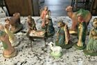 Vintage Set 12 Primitive Nativity Figures Hand Painted Shabby Chic