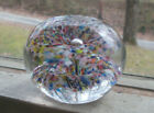 ANTIQUE 1893 DATED ART GLASS PAPERWEIGHT DOUBLE UMBRELLA MULTI COLOR RARE