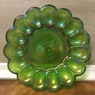 Indiana Carnival Glass Egg Plate Iridescent Green Hobnail Vintage Colorful