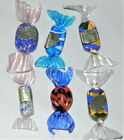 Authentic Murano Italy Glass Wrapped Candy Blue Gold White Lot 6 Vintage Candies