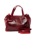 Italian red crocodile embossed leather shoulder bag NEW by Vittoria Pacini