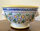 VINTAGE ITALIAN TUSCAN POTTERY FOOTED BOWL PLANTER WITH FLOWER DAISY MOTIF