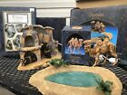 Fontanini Nativity Lighted Stone Fireplace Camel Oasis Pond And Cactus Lot